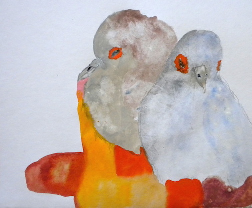 """Two for One,  2014 12 x 12"""" gouache, oil stick and graphite on hand made rag paper"""