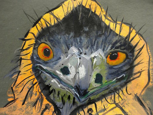 """Baby Cooper's Hawk,  2014 10 x 12"""" gouache, oil stick and graphite on hand made rag paper"""