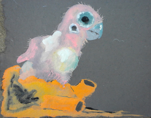 """Baby Goffin,  2014 10 x 10"""" gouache, oil stick and graphite on hand made rag paper"""