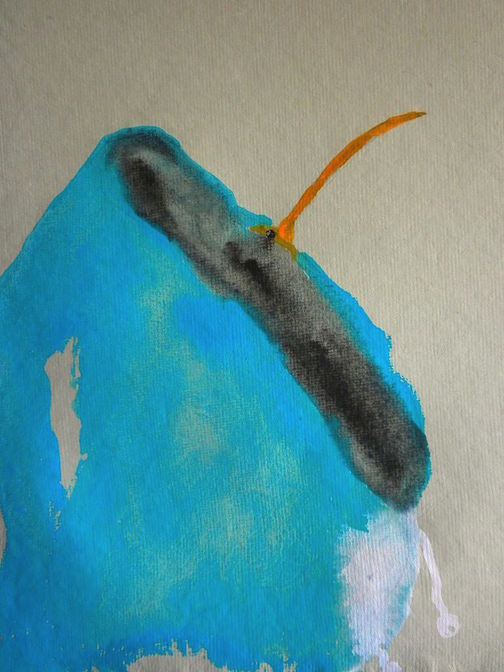 """Pool,  2014 10 x 10"""" gouache, oil stick and graphite on hand made rag paper"""