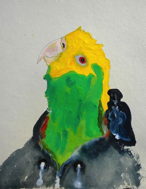 """Curious Yellow Head,  2014 10 x 12"""" gouache, oil stick and graphite on hand made rag paper"""