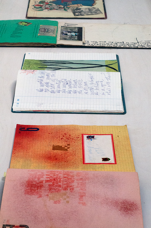 Installation view of Exene Cervenka's journals at Sloan Projects, 2015