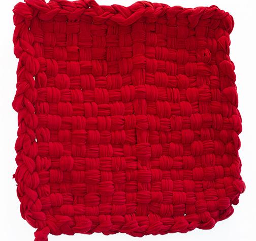 Red Chenille,  2015 Cotton blend chenille 47 x 50 inches Unique