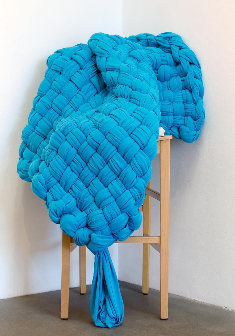 Blue Chenille,  2015 Cotton blend chenille 47 x 50 inches Unique