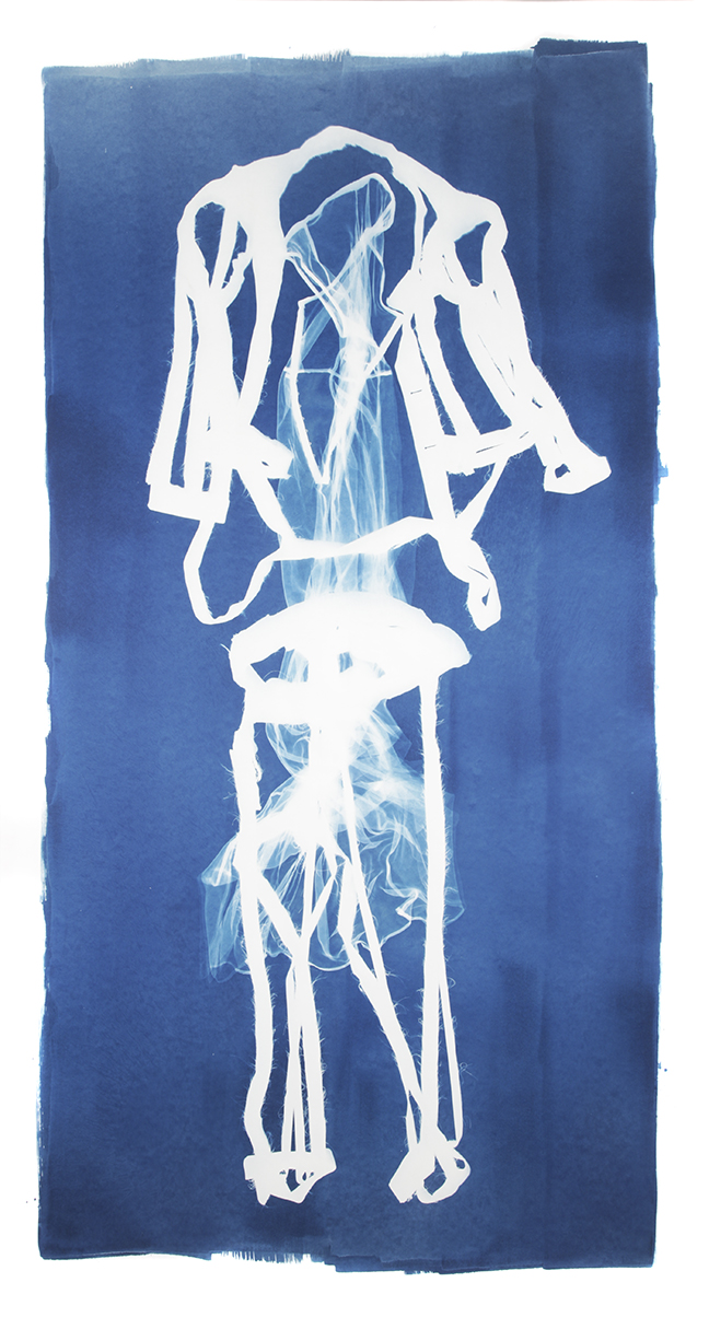 Mary Beth Heffernan  Blue 1 , 2011 96x51 inch cyanotype photogram Unique