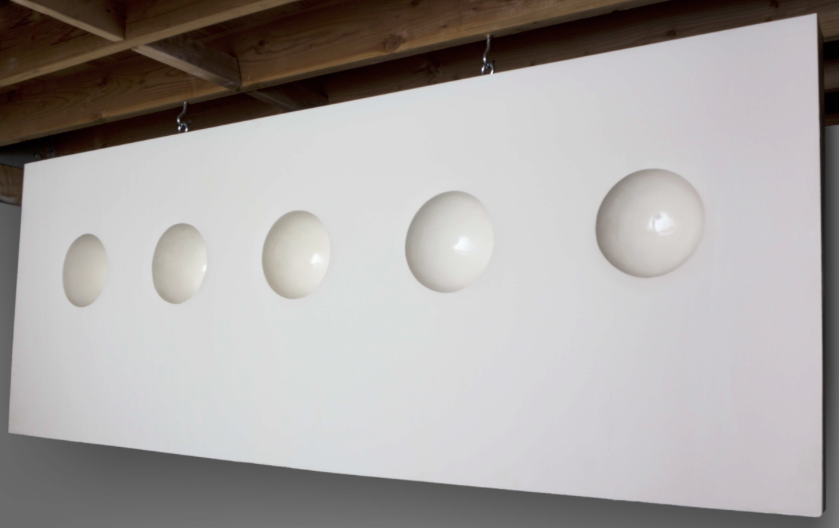 Elizabeth Orleans  Growth Cycle , 2010 Glazed ceramics installed inside drywall with metal studs 8 x 3 x 5 feet