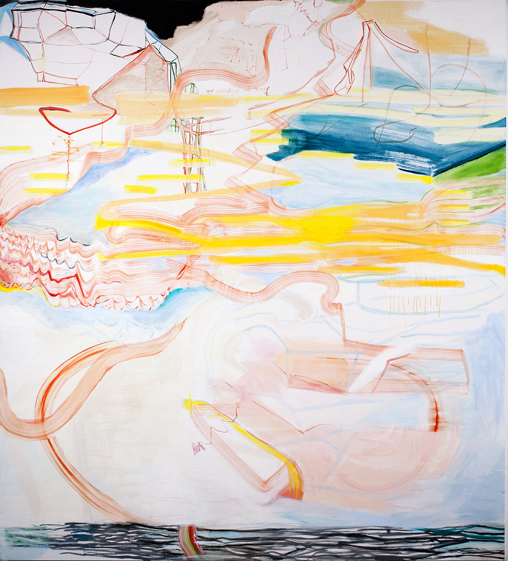 Rebeca Puga  Territorial Waters , 2014 Oil on canvas 72 x 80 inches