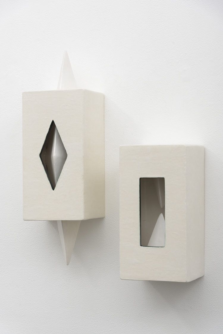 Elizabeth Orleans   Triangulation  , 2016   6.25 x 20.5 x 5.25 inches; 6.25 x 12 x 6 inches   Glazed ceramic