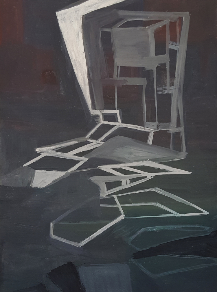 Rebeca Puga  Reconfiguration in Grey , 2015 9 x 12 inch Oil on Wood Panel