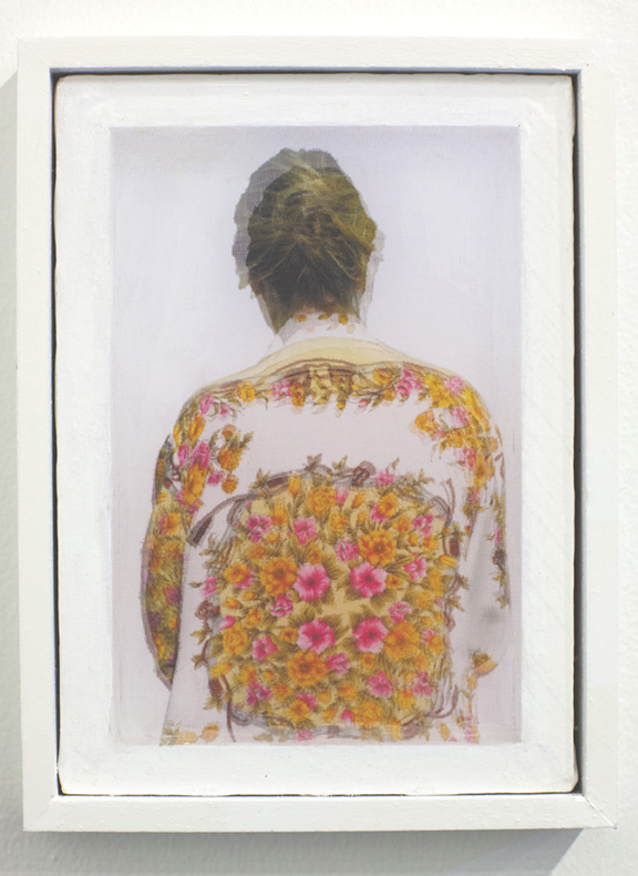 Adele Mills  Self Portrait ,  Mixed Media / Kinetic Object Print on fabric over print on paper, framed in custom shadow-box