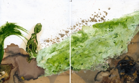 Arden Surdam  Walk of Shame, 2016  Squid, Tannic Acid, Eggs, Ivory White & Tsavorite Green Photo Oils  From the series  How to Tell When It's Done  Number 1 from a Limited Edition of 2 with 2 APs Archival Pigment Prints, 80 x 50 inches
