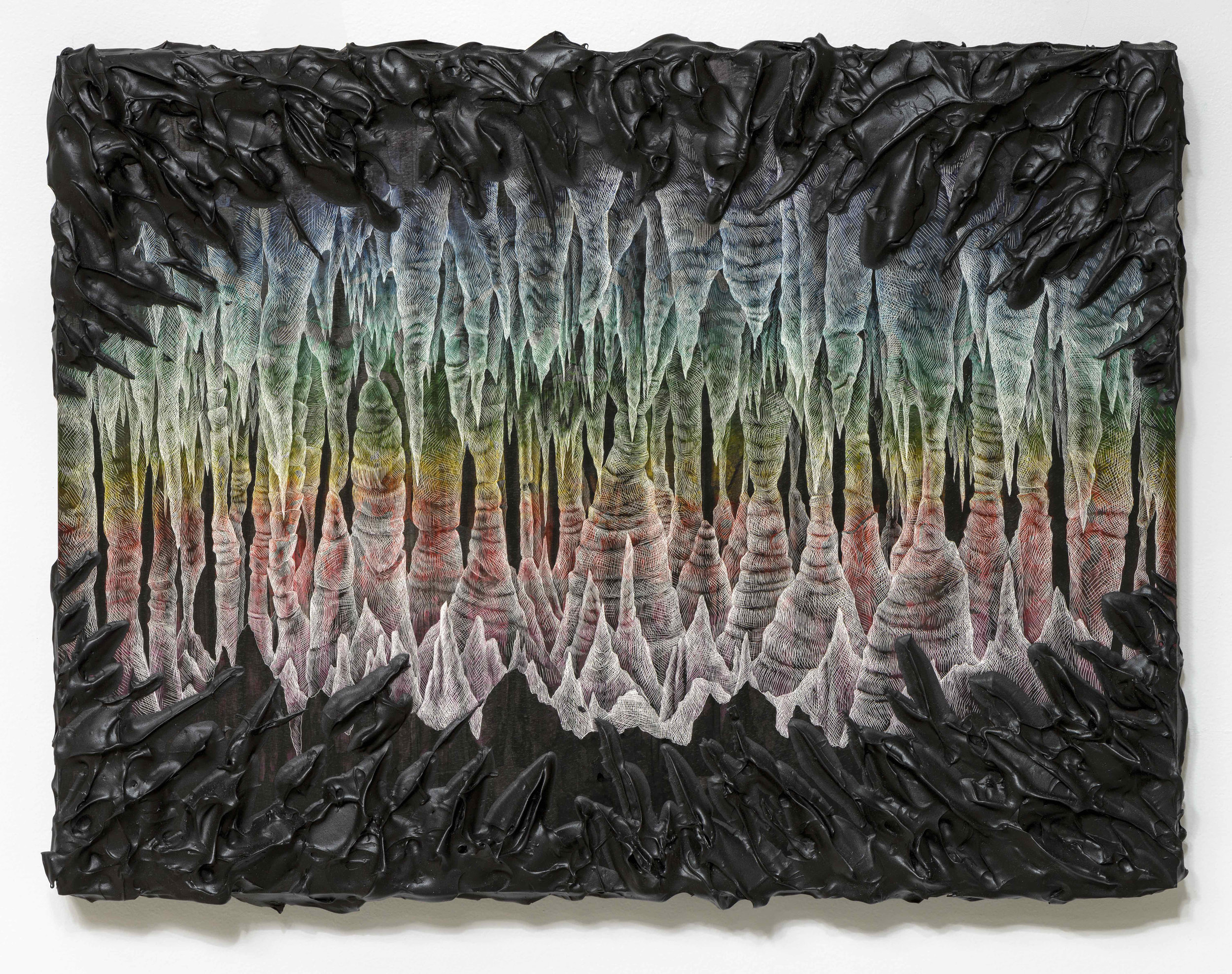 Kelly Berg  Grotto Aurora,  2016 Acrylic, Ink, and scratchboard technique on Clayboard 18 x 24 inches