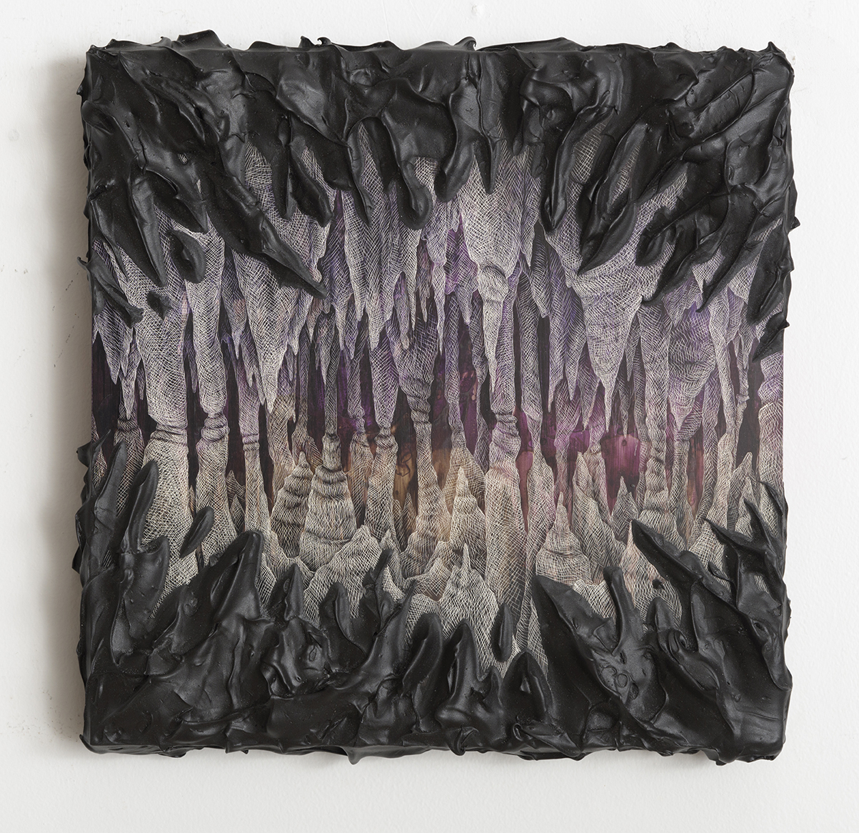 Kelly Berg  The Violet Underground,  2016 Acrylic, ink and and scratchboard technique on Clayboad 12 x 12 inches