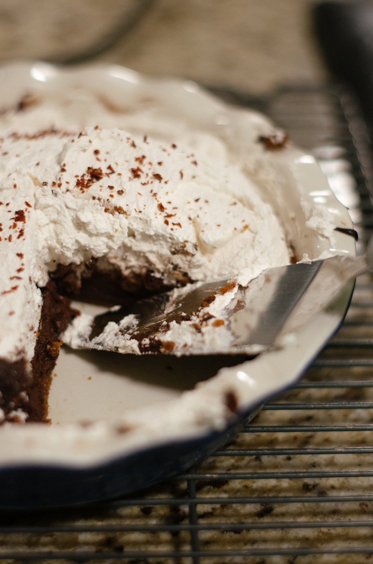 I made this Mexican Chocolate Pie (Allison Kave,  First Prize Pies ) after receiving a job offer.