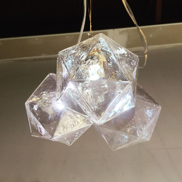 Last day of the CULTURE CRAWL! Here is our clear Crystal Wonderland Pendant Light up in our studio.✨✨✨✨ Come by and say hi 😀. We are in studio 255 in the Mergatroid, 975 Vernon Dr.  Today from 11 - 6. • • • • • #culturecrawl #lightingdesign #architecturelighting #platonicsolids #icosahedron #light #crystals #crystal #decor #homedecor #interiordesign #vancouver #yvr #led #inthestudio #glass #blownglass #madebyhand #handmade #craft #maker