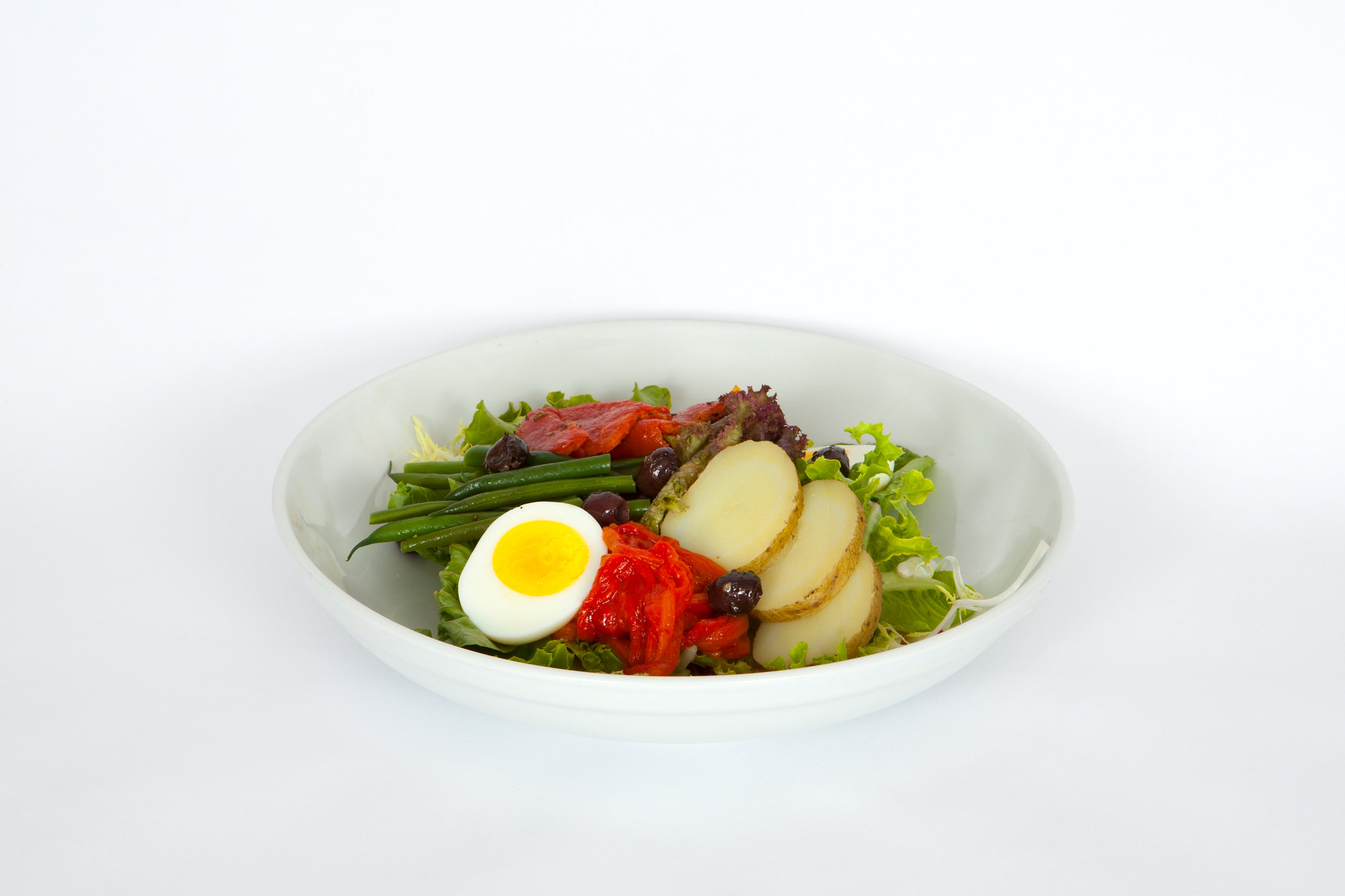 Nicoise salad healthy with premium eggs and olives