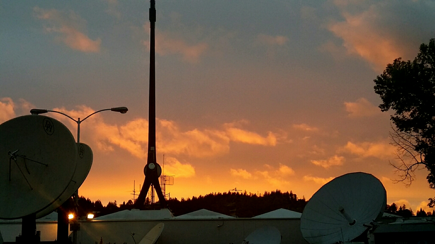 Sunset at the tv station earlier in the week... before Breaking News Friday,