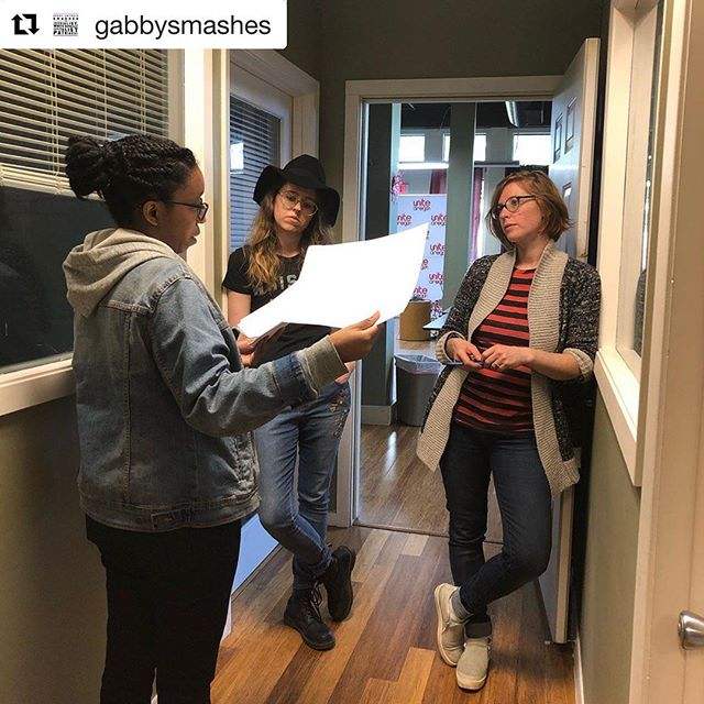 "#Repost @gabbysmashes ・・・ The team is starting to plan out filming for season one of Gabby Smashes!! At the ""UNHAPI"" office today."