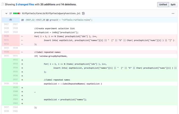 Figure 1   : Code comparison (redlining) in GitHub. Red shading highlights lines of code in a prior version that are missing from the current version. Green shading highlights code that has been added to the current version.