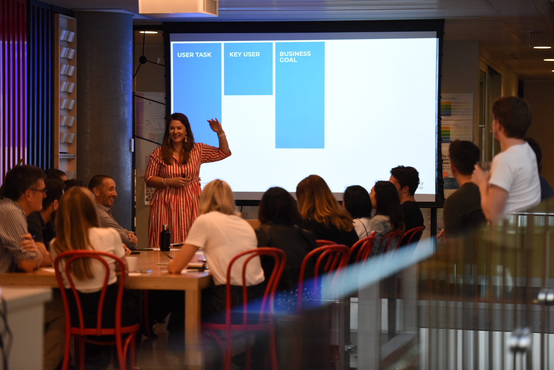 Running a Content Canvas workshop at Commonwealth Bank Australia in 2019. Photo by Orrr Dhiravarangkura