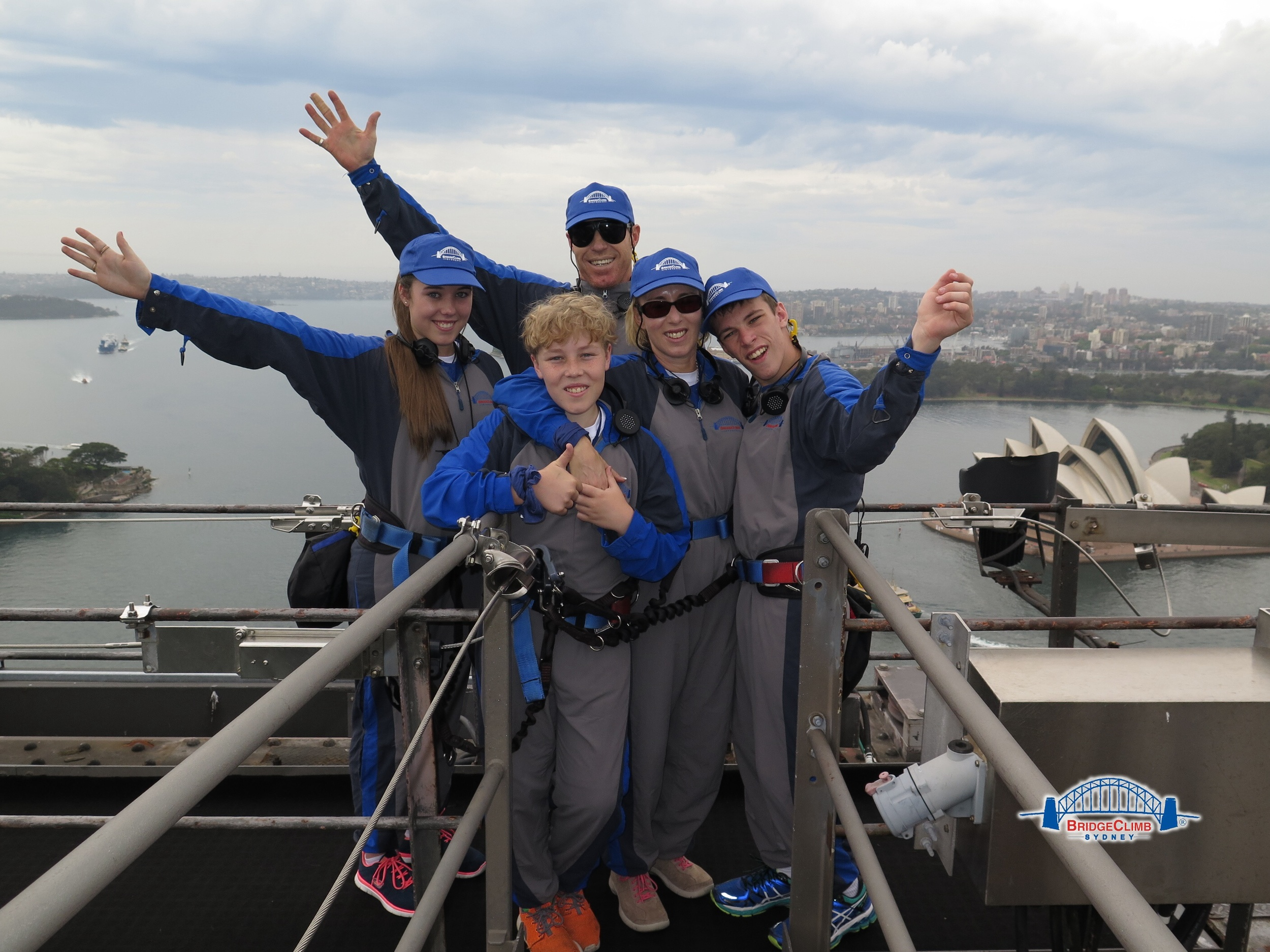 Luke Waters, Eric Barrett & family at the top of the Harbour Bridge