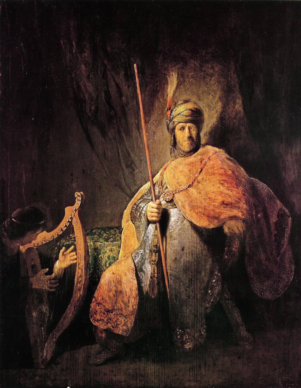 David speelt harp voor Saul