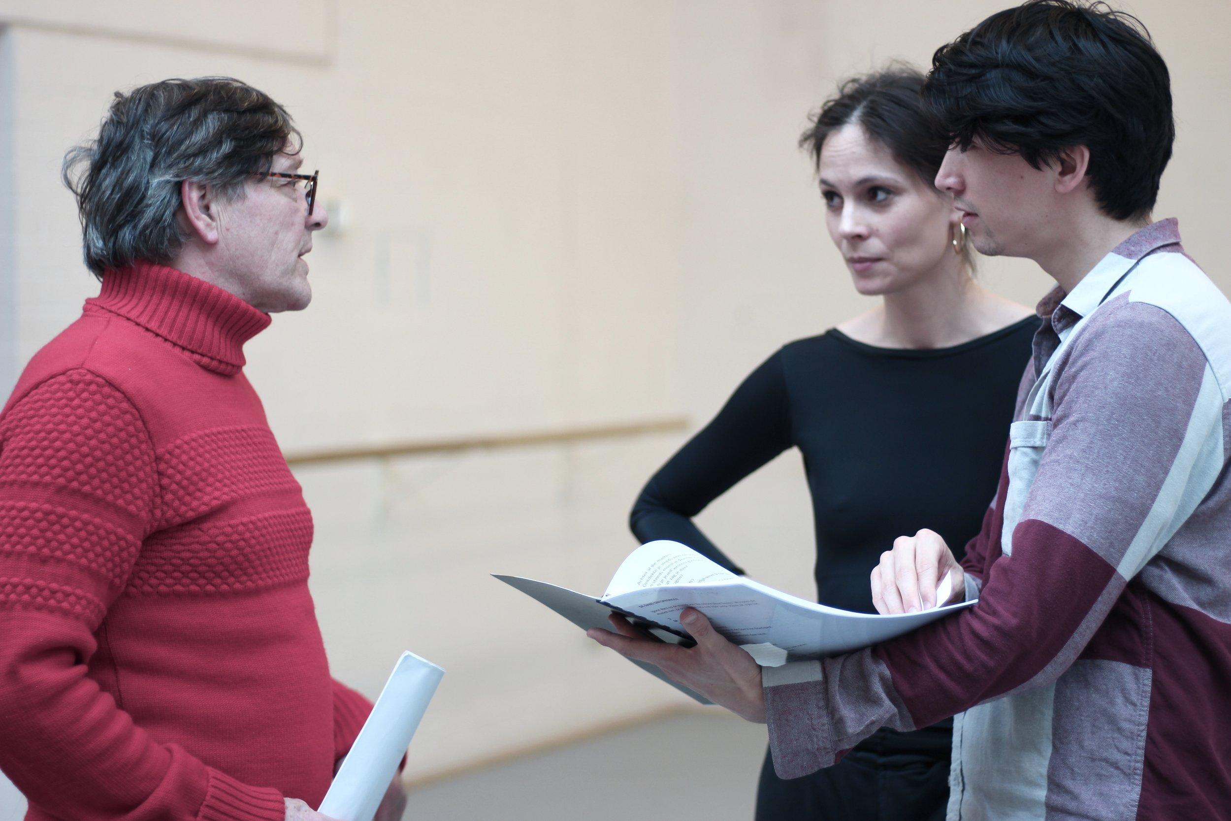 Pierre Bokma & Igone de Jongh in rehearsal for De Dans Ontsprongen / Theater Na de Dam. Photograph: ©Juliette de Groot