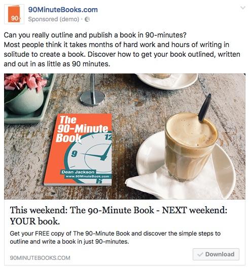 90-Minute Book Facebook Ad