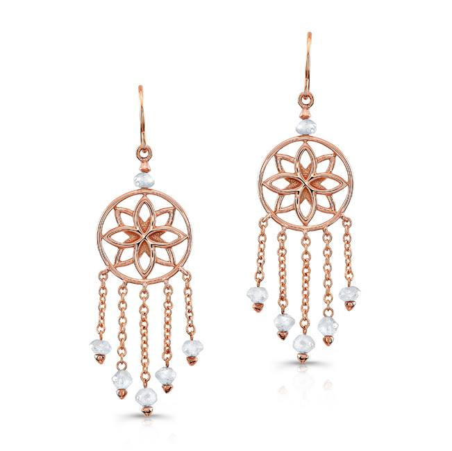 Dream Catcher Earrings in 18k Rose Gold.