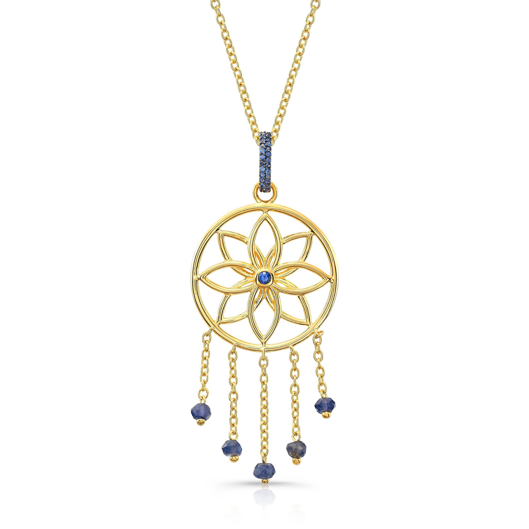 Mandala Dream Catcher Pendant in 22k Yellow Gold.