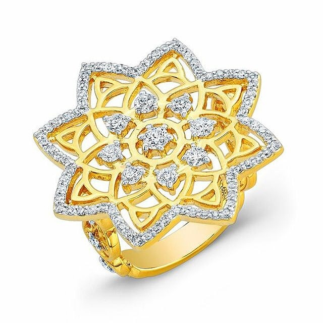Mandala Dream Catcher Ring in 22k Yellow Gold.