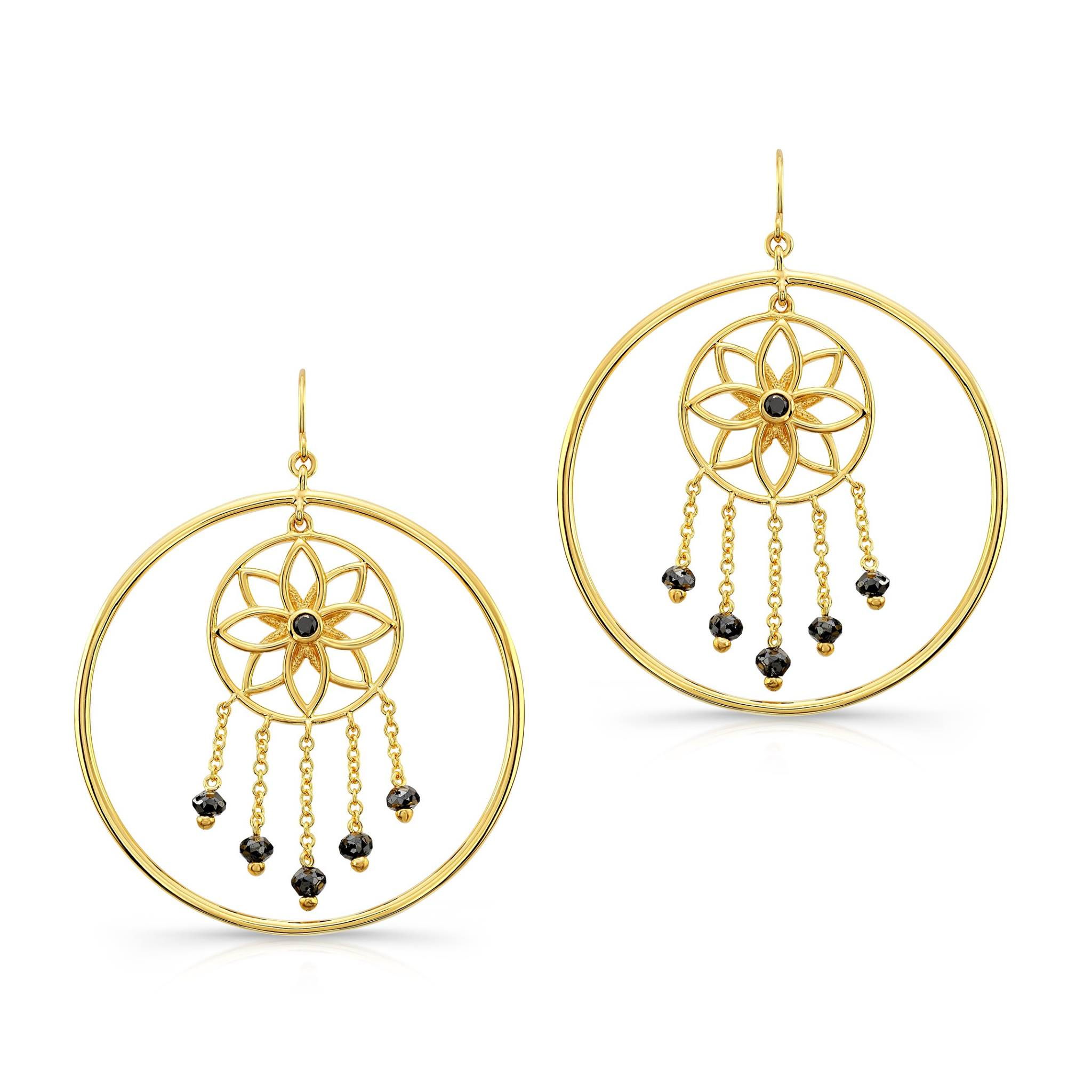 Mandala Dream Catcher Earrings in 22k Yellow Gold.