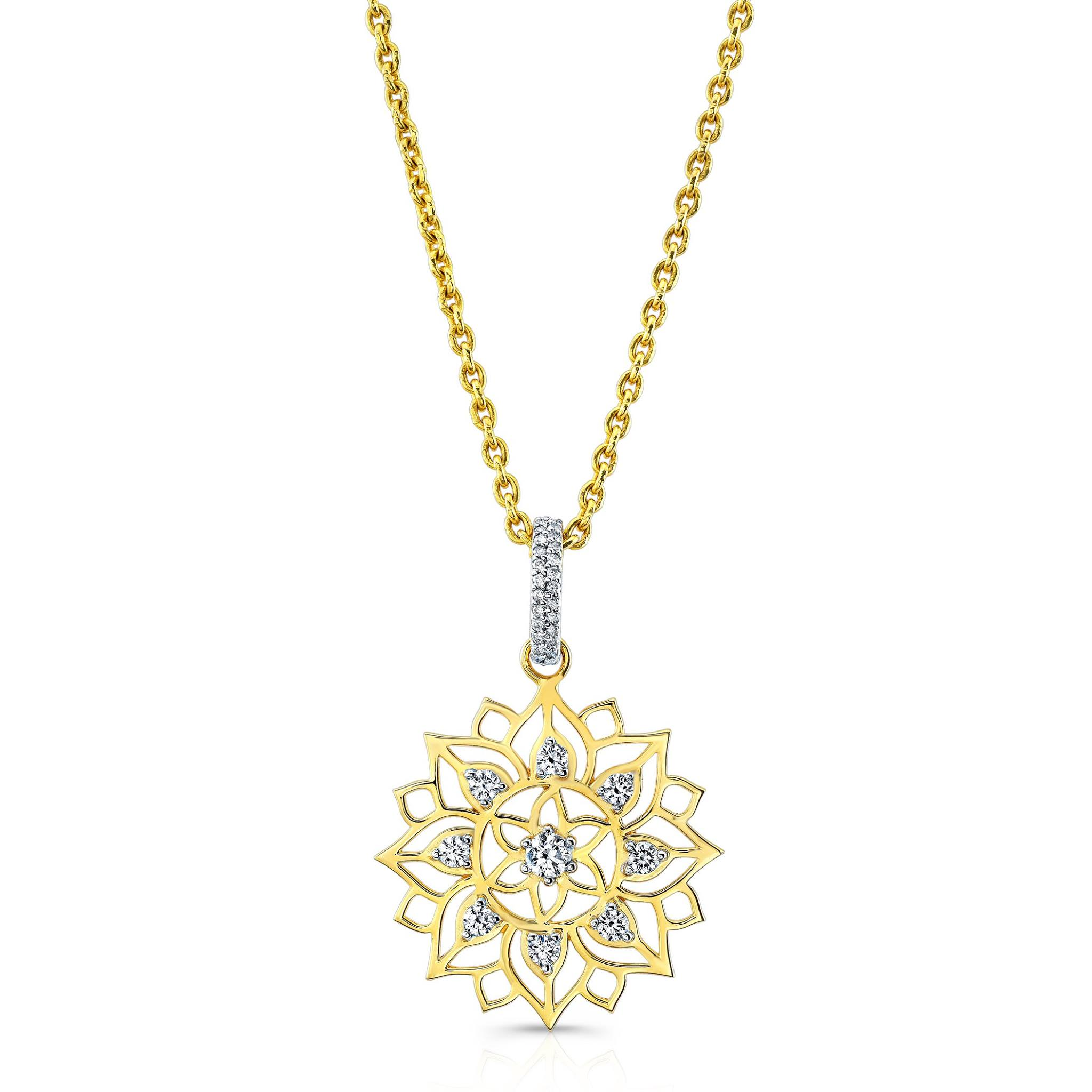 Mandala Dream Catcher pendant and chain in 22k Yellow Gold with Diamonds.