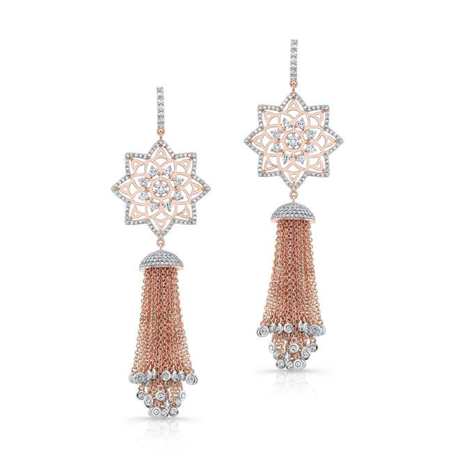 Mandala Drop Earrings in 18k Rose Gold with Diamonds.