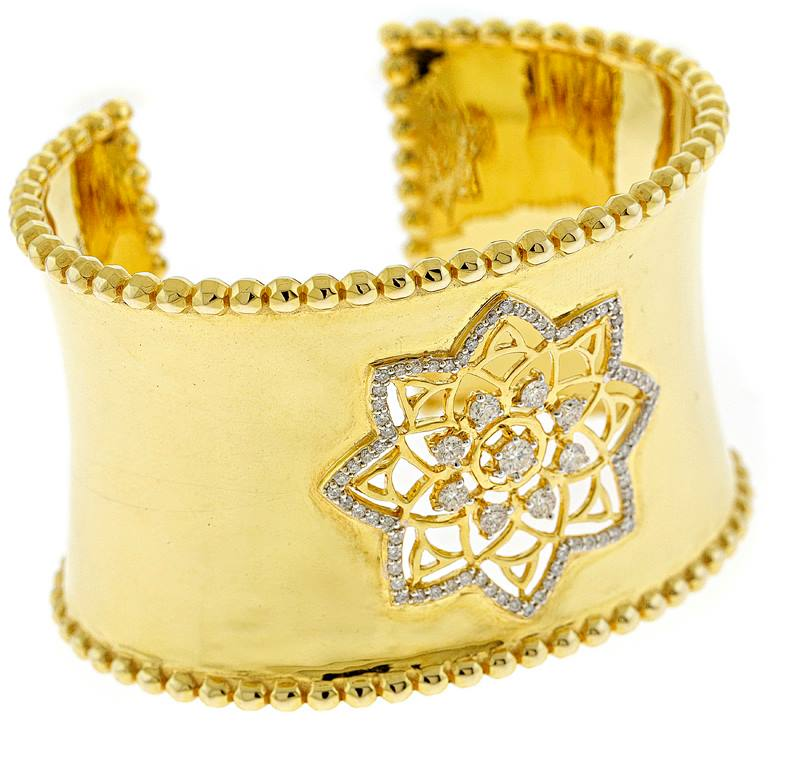 Mandala Dream Catcher Bangle in 22k Yellow Gold with Diamonds.