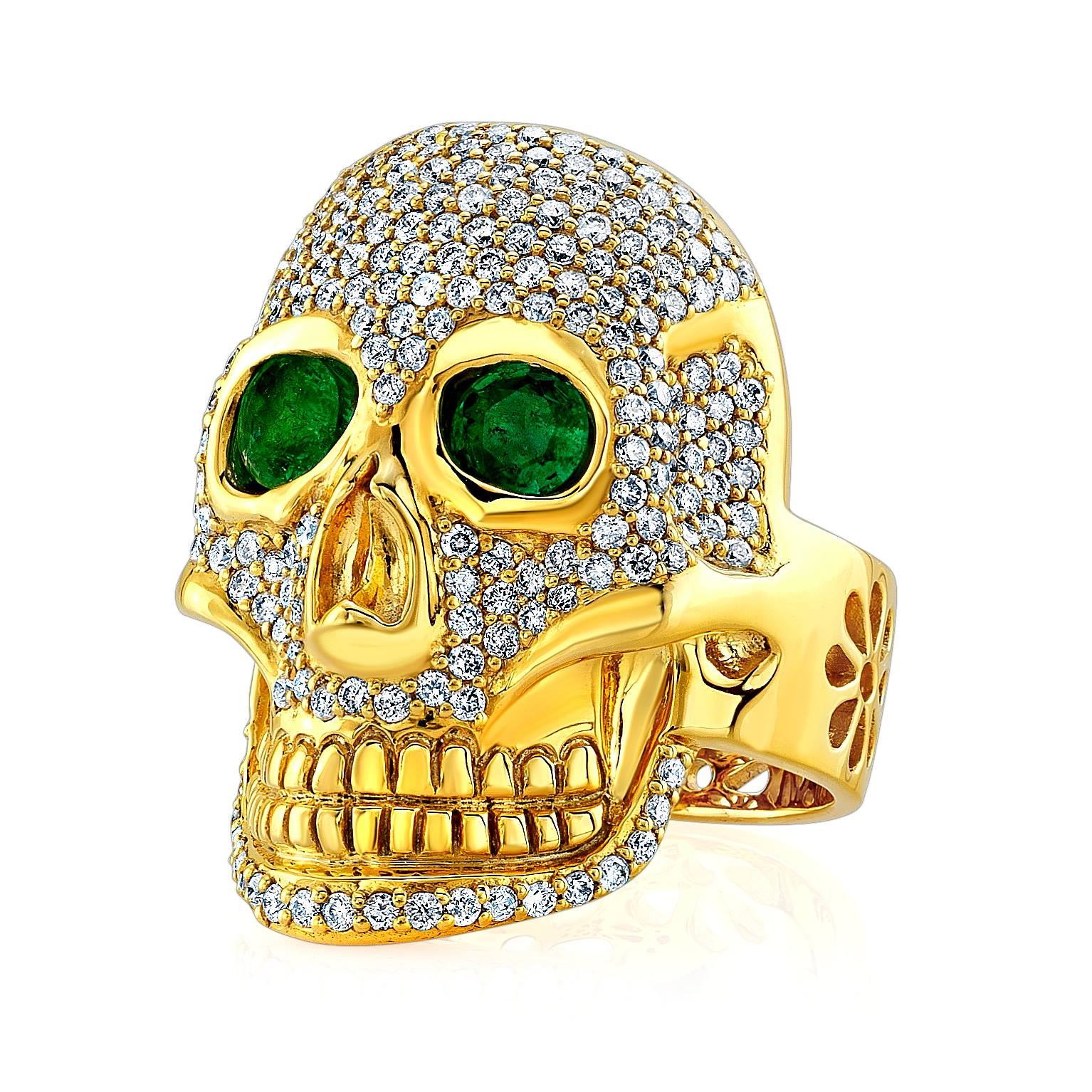 22 karat gold skull ring with diamonds and emeralds