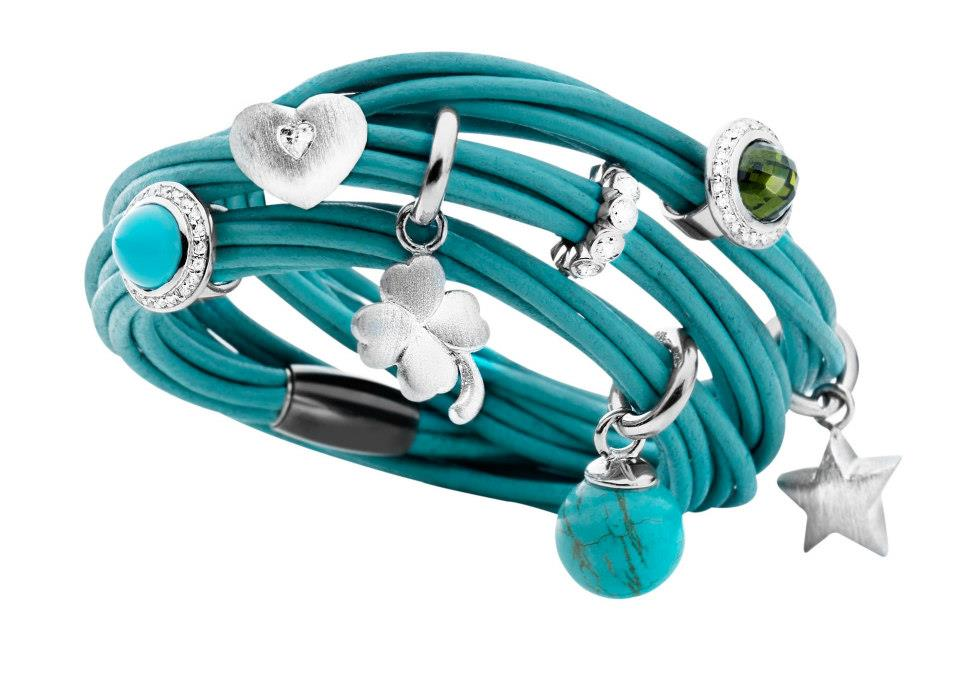 Turquoise multistrand leather wrap bracelet with silver chrams