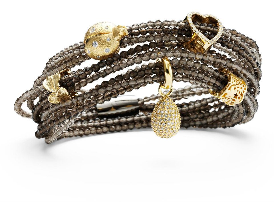 Snake skin leather wrap bracelet with gold plated silver charms