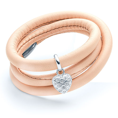 Pink lamb skin leather wrap bracelet with silver heart charm