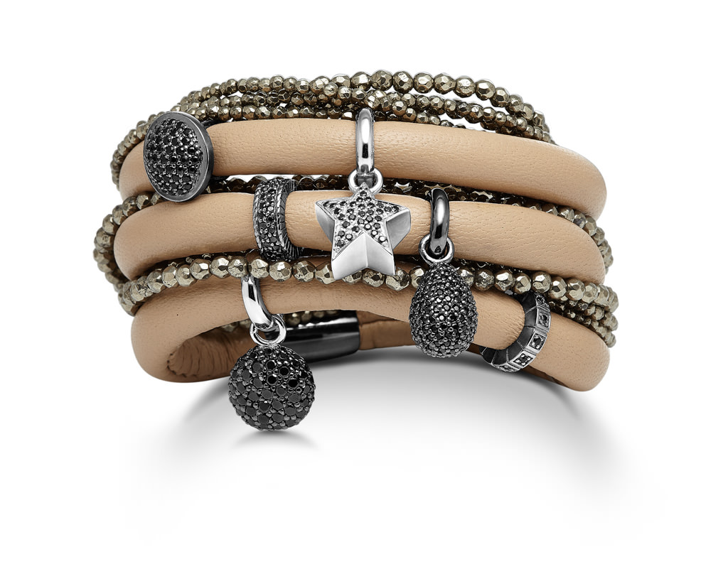 Tan lamb skin leather wrap bracelet with black rhodium silver charms and a smokey quartz wrap bracelet