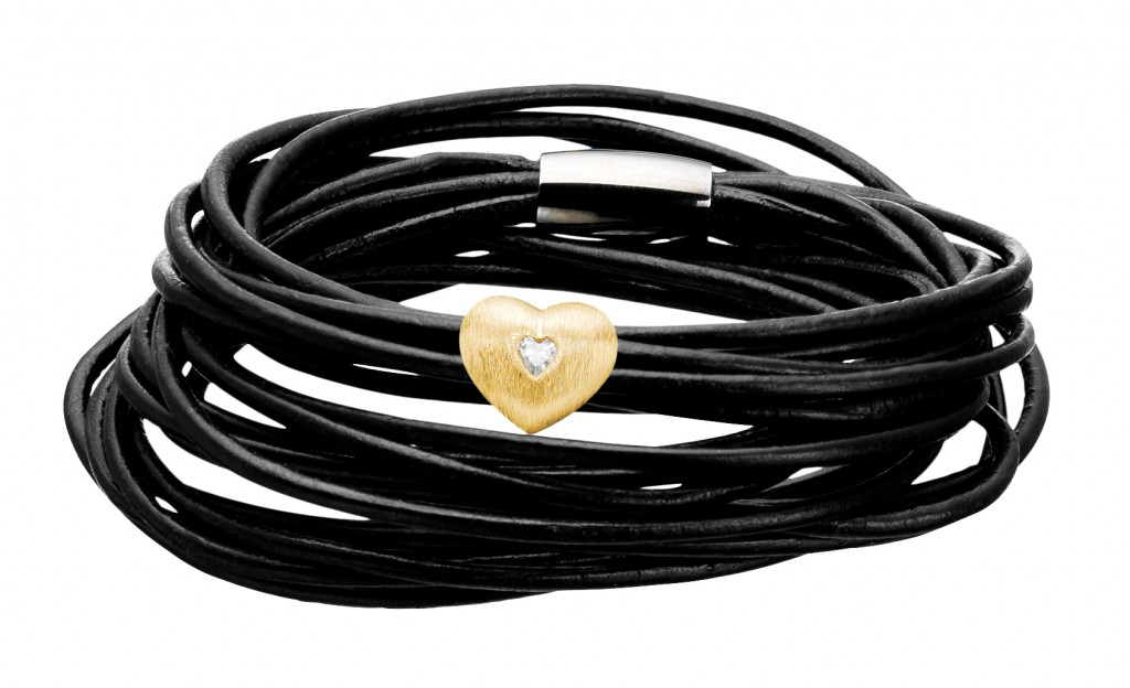 multistrand black leather wrap bracelet with one gold plated silver heart charm