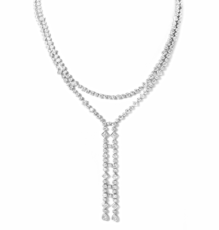 18 kt white gold diamond necklace with natural white diamonds