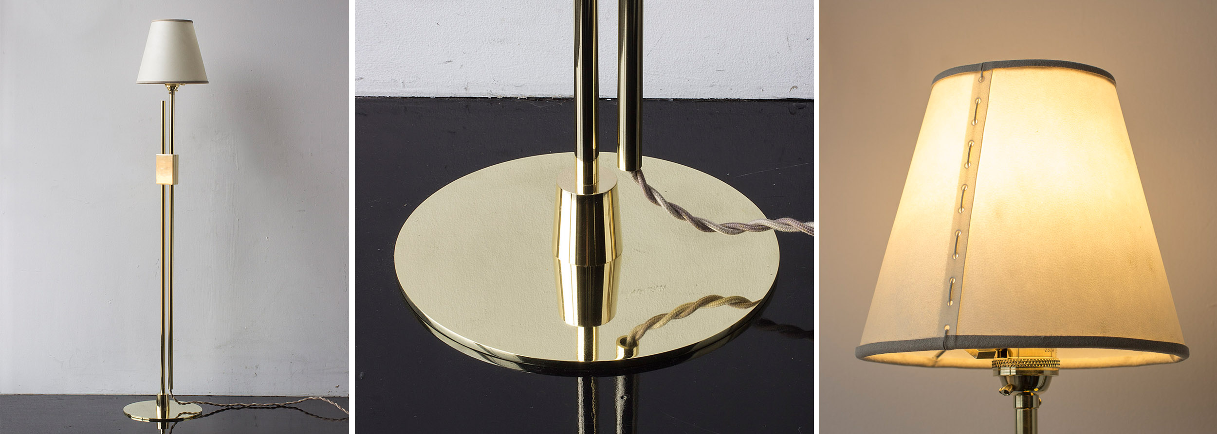 Series 04 Floor Lamp, Polished unlacquered brass and goatskin parchment shade with ultrasuede trim,  2019.