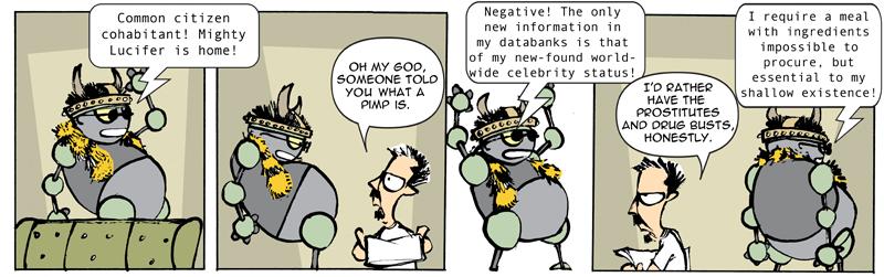 """TOBY, Robot Satan"" daily strip"
