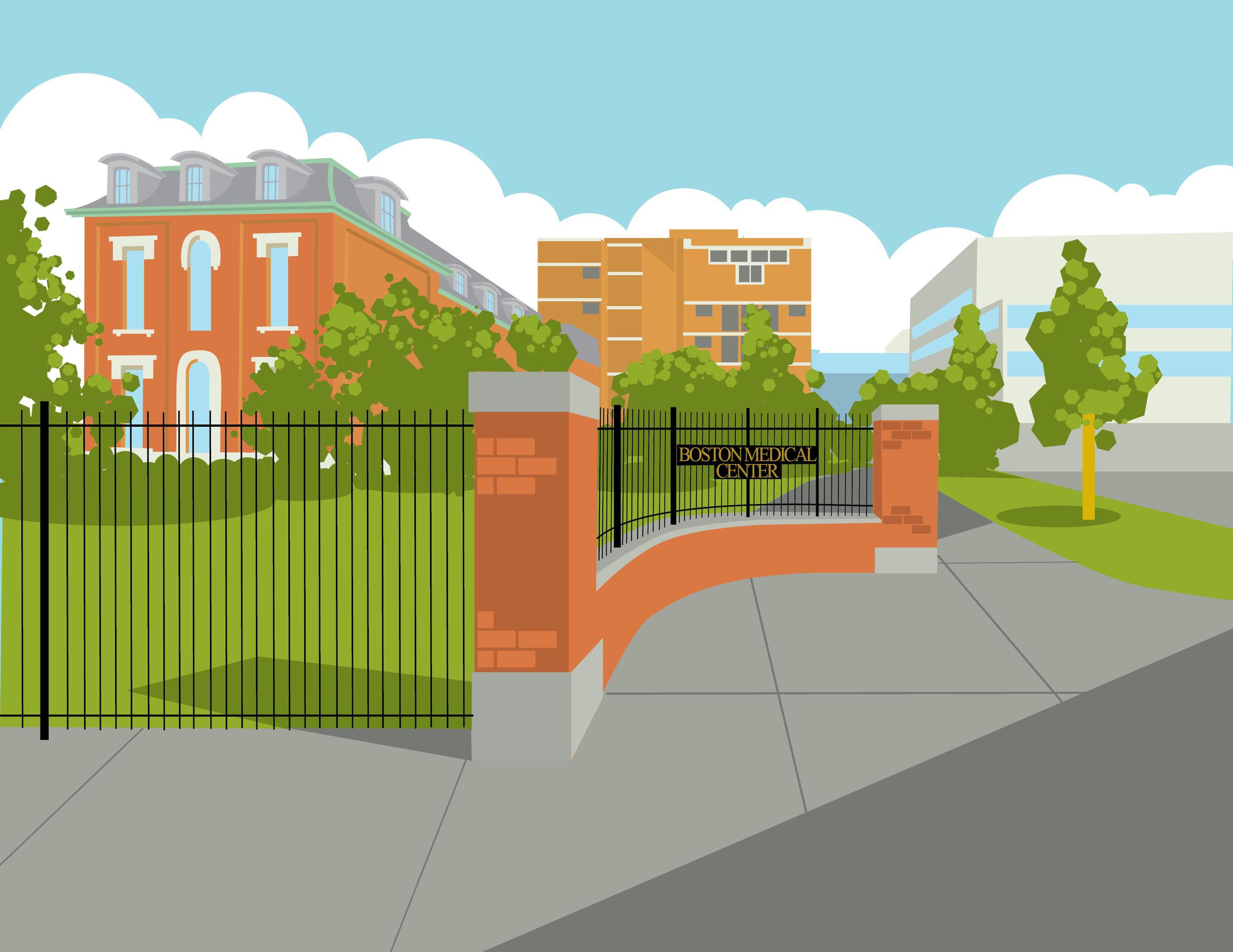Digital illustration of Boston Medical Center
