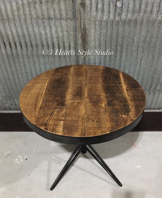 Rustic Industrial Height Adjustable Side Table Denver Colorado