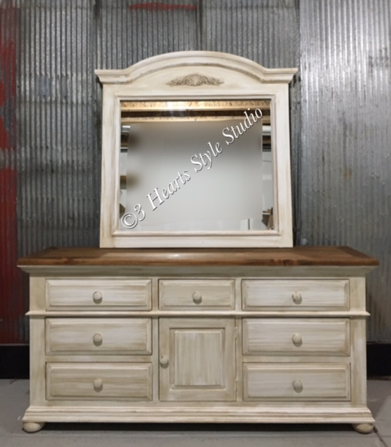 Refinished client owned dresser and mirror in antique white.