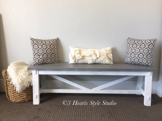 Farmhouse bench in driftwood and white