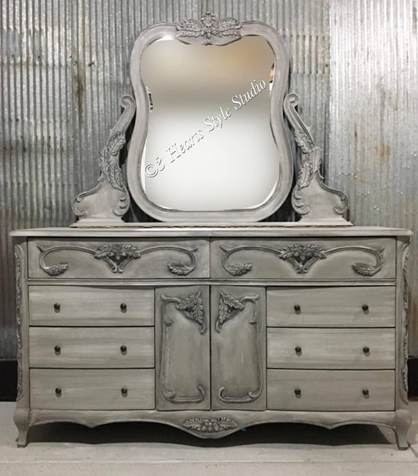 French provincial style dresser in custom gray with black antiquing.