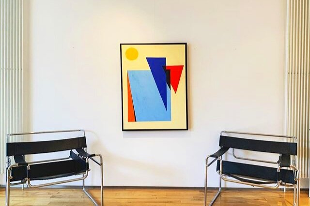 R2:3 from #Exhibayo 2 with #Wassily Chairs @thecopperhse  #contemporaryart #design #abstractart #art #interiordesign #drawing #painting #geometric #colour
